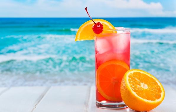 Картинка лед, море, лето, вишня, фон, апельсин, коктейль, цитрус, напиток