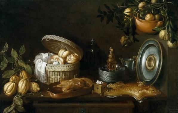 Картинка бутылка, картина, тарелки, корзинка, Натюрморт, блюдо, Томас Хепес