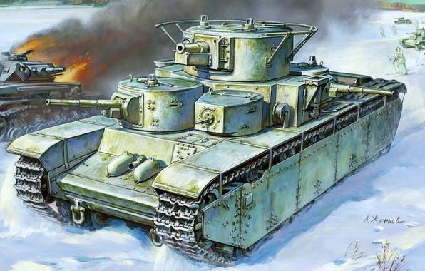 Картинка зима, пушки, арт, художник, танк, СССР, битва, пулеметы, ВОВ, подбитый, тяжелый, немецкий, советский, слева, калибр, …