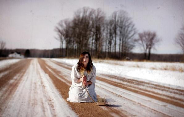 Картинка дорога, девушка, настроение, телефон