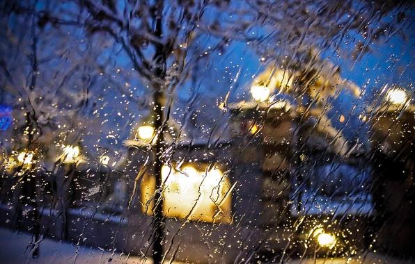 Картинка стекло, капли, макро, city, город, дождь, улица, glass, rain, drops