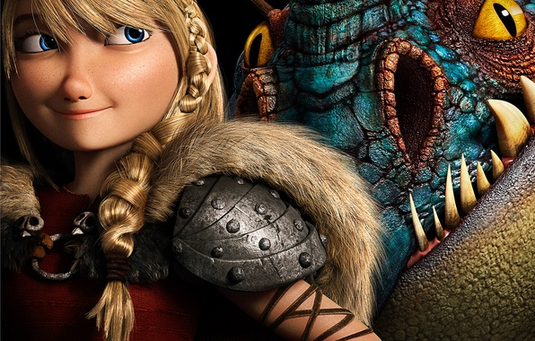 Картинка Girl, Dark, Action, Fantasy, Dragon, Blue, DreamWorks, Wallpaper, Family, Eyes, Blonde, Animation, Viking, Movie, Film, …
