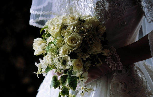 Картинка цветы, букет, платье, невеста, фата, свадьба
