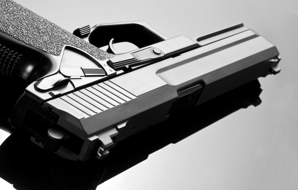 Картинка metal, pistol, white, automatic, black, and, defender, death, trunk, arms, blueing, rifling, murder, reliability, barrel, …