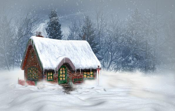 Картинка зима, снег, деревья, пейзаж, горы, природа, дом, Рождество, Новый год, Christmas, New Year