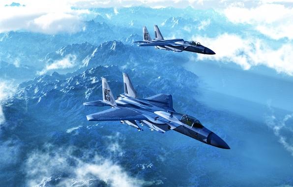 Картинка Eagle, model, рендер, eagle reconnaissance, F-15A
