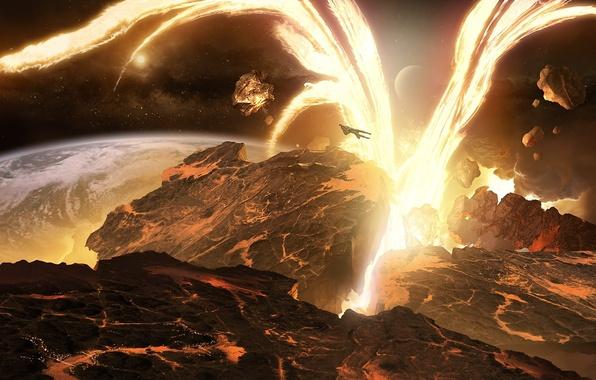 Картинка лес, энергия, обломки, космос, поверхность, взрыв, ландшафт, корабль, планета, арт, разрушение, лава, реки, разлом