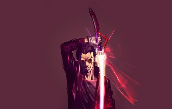 Картинка меч, очки, Аниме, anime, Travis Touchdown, No More Heroes, Goichi Suda