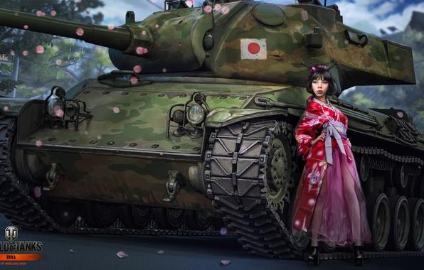 Картинка девушка, Япония, гейша, танк, girl, танки, WoT, Мир танков, tank, World of Tanks, tanks, Wargaming.Net, …