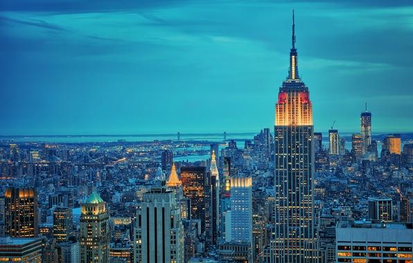 Картинка ночь, city, город, огни, Нью-Йорк, Нью Йорк, New York, бруклин, empire state bulding