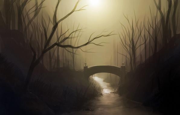Картинка деревья, мост, река, арт, нарисованный пейзаж