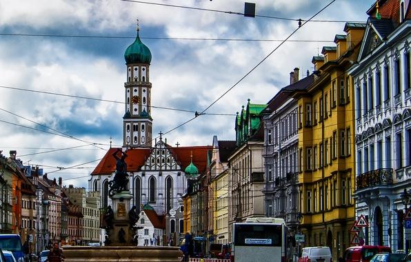 Картинка башня, дома, Германия, Бавария, площадь, собор, фонтан, скульптура, Аугсбург