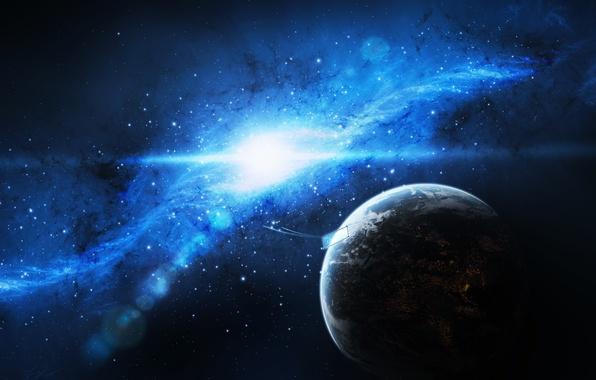 Картинка небо, космос, звезды, огни, земля, планета, арт, галактика, spaceship, jkelly26