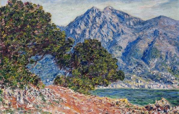 Картинка море, деревья, пейзаж, горы, картина, Клод Моне, Мыс Мартен