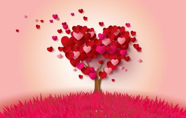 Картинка дерево, сердце, сердечки, love, heart, pink, romantic