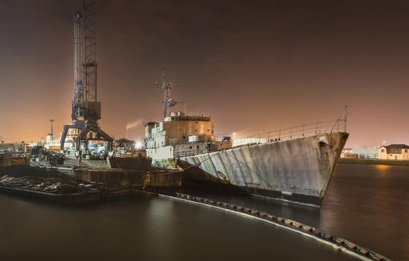 Картинка ночь, корабль, порт