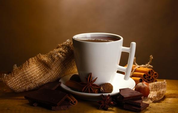Картинка горячий, шоколад, напиток, орехи, корица, дольки, пряности, бадьян, анис