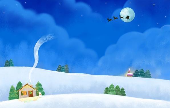 Картинка облака, ночь, праздник, холмы, луна, дым, рисунок, звёзды, сугробы, домик, снеговик, упряжка, сани, гирлянда, олени, …