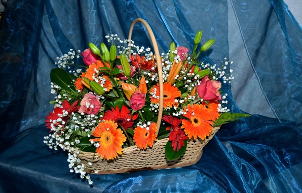 Картинка цветок, цветы, корзина, лилии, розы, букет, корзинка, герберы, красивый