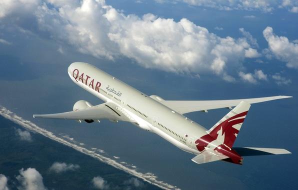 Картинка Небо, Погода, Крылья, Boeing, Полёт, Sky, Боинг, 300, 777, Airplane, Flying, Самолёт, Пассажирский, Qatar, Катар, …