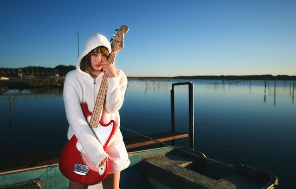 Картинка девушка, музыка, гитара