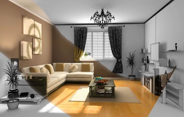 Картинка цветы, уют, стол, фон, комната, диван, обои, интерьер, подушки, телевизор, простор, wallpaper, квартира, широкоформатные, background, …