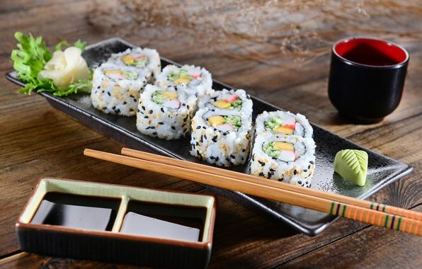 Картинка палочки, rolls, sushi, суши, салат, роллы, японская кухня, имбирь, соевый соус, ginger, salad, sticks, soy …