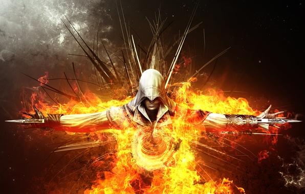 Картинка огонь, пламя, арт, убийца, клинки, ассасин, fear, assassin, эцио аудиторе да фиренце, ezio auditore da …