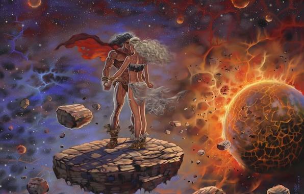 Картинка девушка, космос, любовь, осколки, планета, фэнтези, пара, space, love, парень, Fantasy, двое, two, couple, planet, …