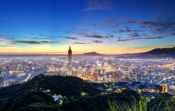 Картинка China, панорама, Китай, Тайвань, ночной город, Тайбэй, Taiwan, Taipei