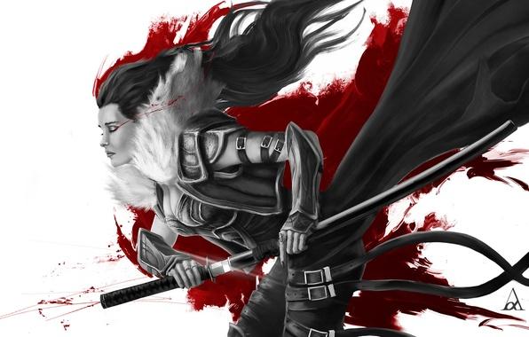 Картинка девушка, смерть, кровь, меч, катана, воин, самурай, Art