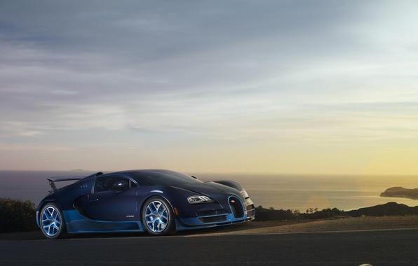 Картинка Закат, Море, Бугатти, Bugatti, Вейрон, Veyron, Blue, Суперкар, Supercar, Grand Sport, Vitesse, Витесс