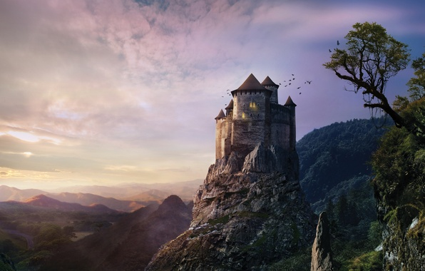 Картинка небо, деревья, закат, замок, холм, фэнтези, fantasy, misty, sky, trees, sunset, hill, castle, creepy, жутко, …