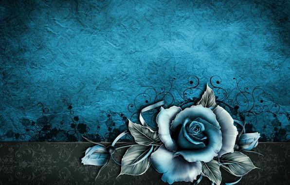 Картинка бумага, фон, роза, текстура, wallpaper, rose, vintage, texture, blue, винтаж, grunge, paper, floral