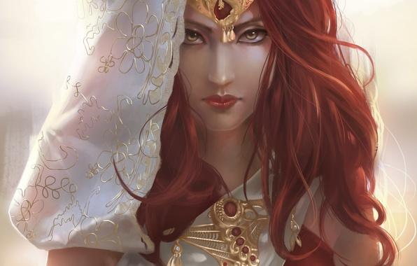 Картинка взгляд, девушка, украшения, лицо, арт, фэнтази, красные волосы