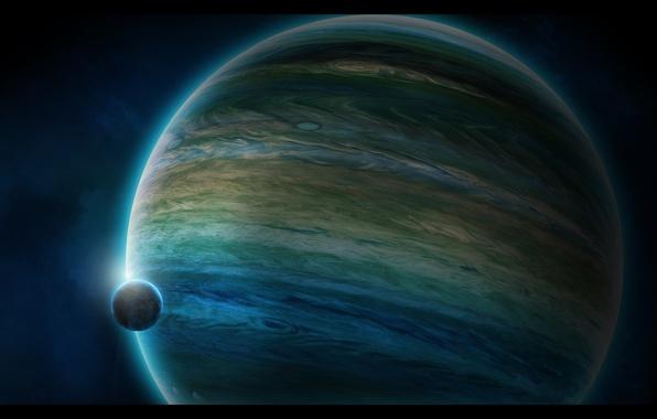 Картинка планета, спутник, атмосфера, газовый гигант