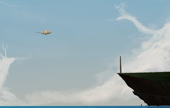 Картинка море, небо, вода, облака, дерево, остров, арт, дирижабль, памятник