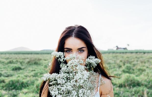 Картинка поле, небо, взгляд, девушка, цветы, портрет, макияж, брюнетка, прическа, боке