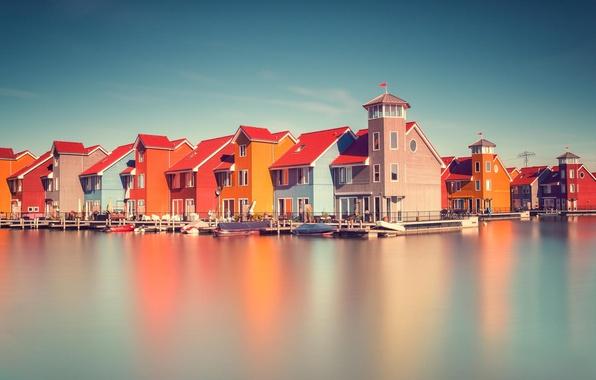 Картинка отражение, река, Дома, Голандия