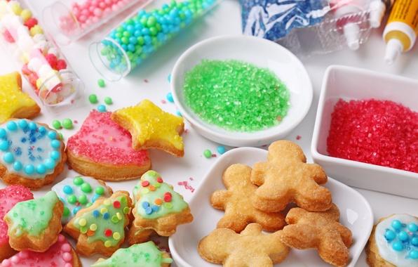 Картинка еда, печенье, конфеты, фигурки, десерт, выпечка, новогоднее, присыпка