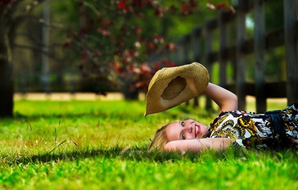 Картинка лето, девушка, настроение, шляпа