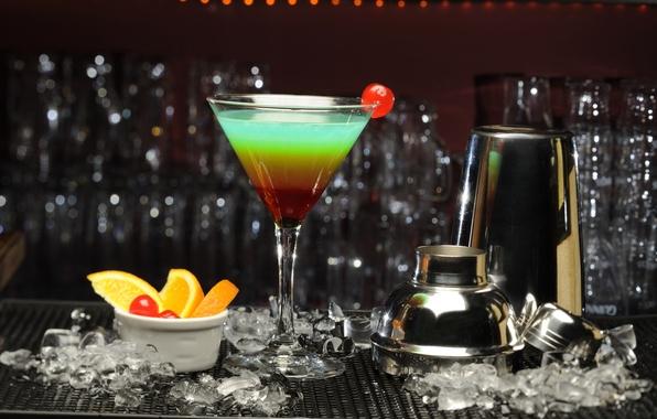 Картинка лед, вишня, апельсин, бар, коктейль
