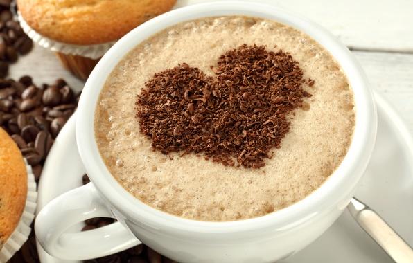 Картинка любовь, сердце, кофе, шоколад, love, heart, cup, beans, coffee