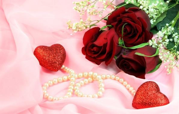 Картинка украшения, розы, сердечки, бусы, бордовые