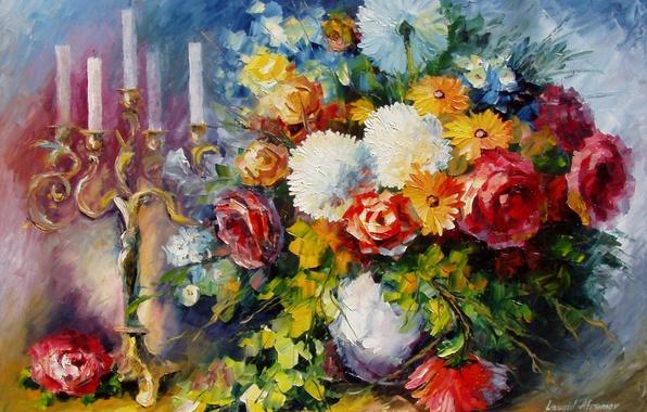 Картинка цветы, букет, свечи, арт, ваза, подсвечник, Leonid Afremov
