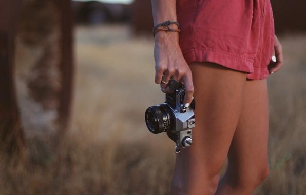 Картинка трава, девушка, природа, фон, обои, ноги, настроения, растение, руки, фотоаппарат, браслеты, wallpapers
