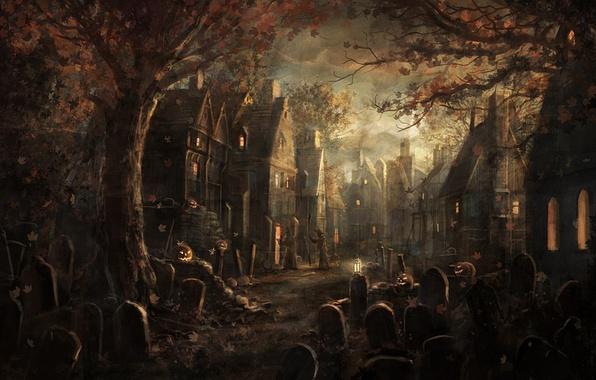 Картинка листья, деревья, могилы, деревня, тыквы, плиты, клен, halloween, хеллоуин, мрачность