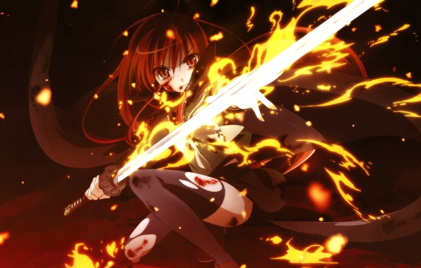 Картинка девушка, огонь, меч, аниме, арт, shakugan no shana, Shana