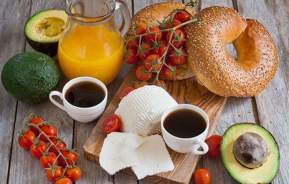 Картинка Сыр, Кофе, Овощи, Coffee, Rolls, Завтрак, Сок, Breakfast, Cheese, Vegetables, Juice, Булочки