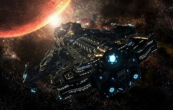 Картинка космос, фантастика, корабль, планета, арт, полёт